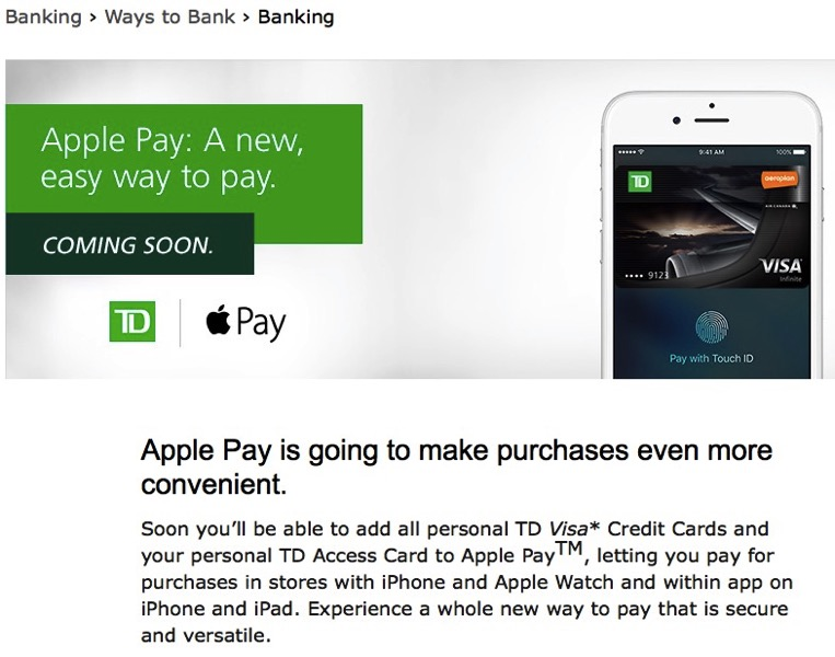 Td apple pay