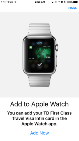 Apple Pay TD-watch