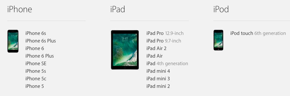 iOS 10 compatibility list