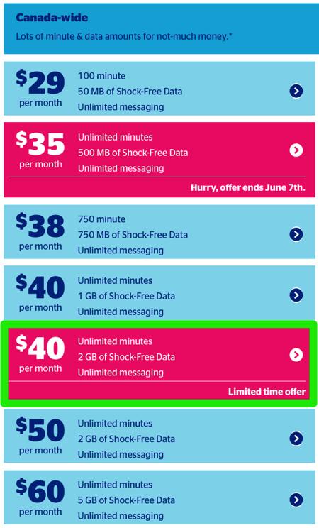 Koodo quebec $40 2gb