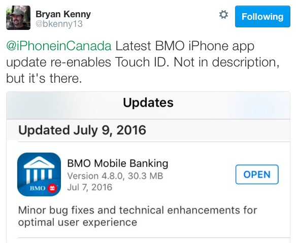 Bmo mobile banking touch id