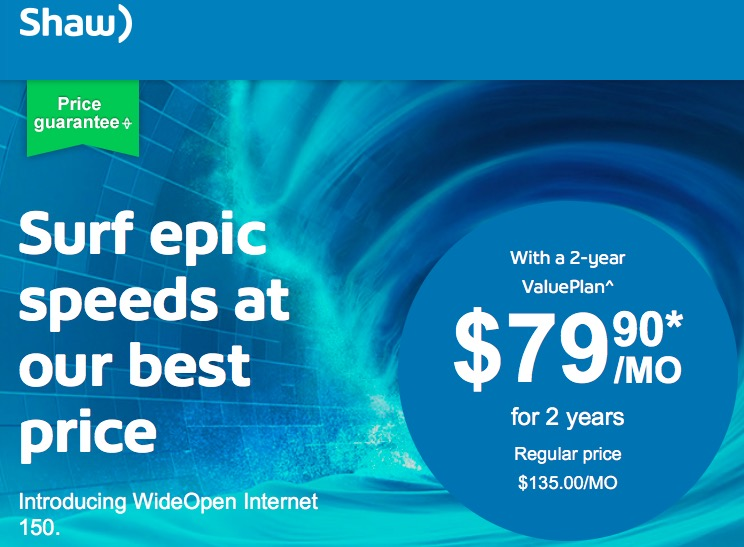 Shaw WideOpen Internet Launches, 150Mbps for $79.90 on Contract