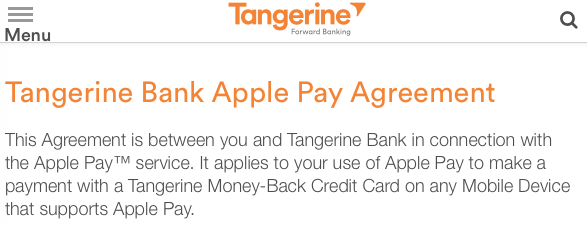 Tangerine apple pay
