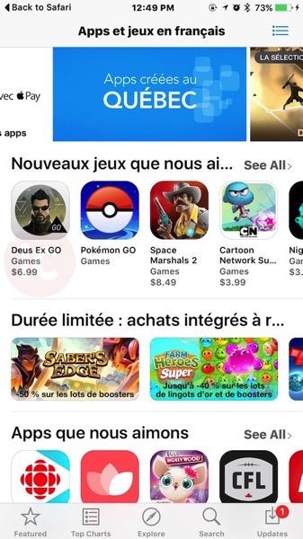 Apps et jeux en francais