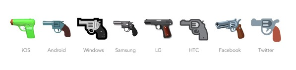 Emojipedia pistol emoji comparison