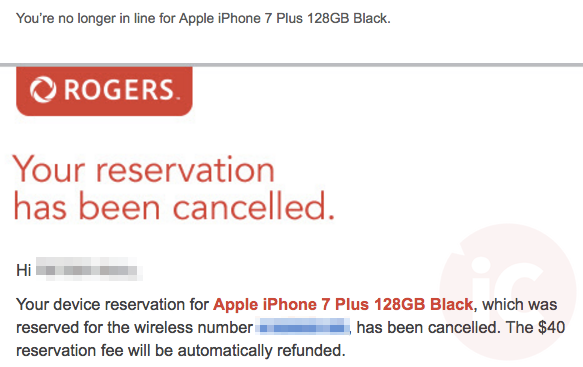 Rogers iphone 7 cancelled