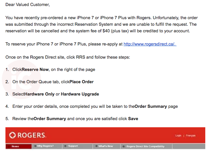 Rogers reservation fail