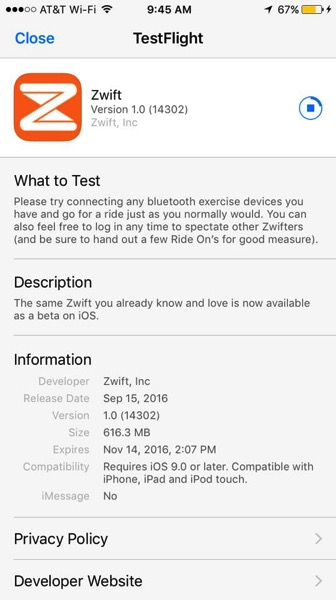 Zwift ios beta testflight