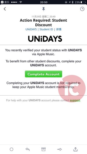Apple music student unidays