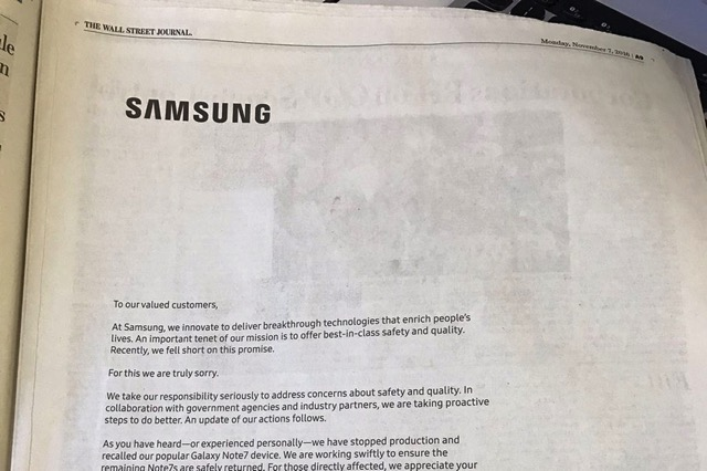 Samsung galaxy note 7 apology ad 0