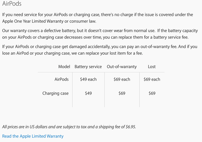 Lost an AirPod or Charging Case? Replacement Cost $69 US