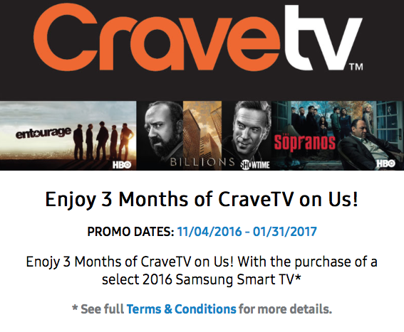get bell 39 s cravetv free for three months with a samsung tv purchase iphone in canada blog. Black Bedroom Furniture Sets. Home Design Ideas