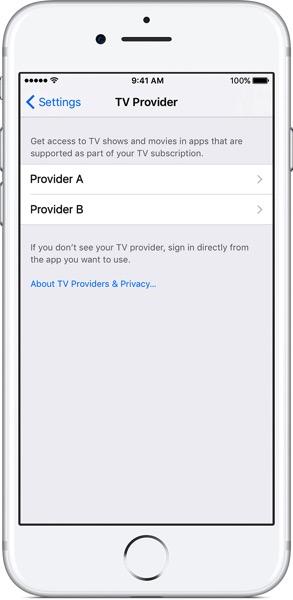 Iphone7 ios10 settings tv provider