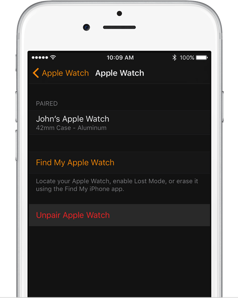 Ios10 watchos3 watch my watch apple watch unpair