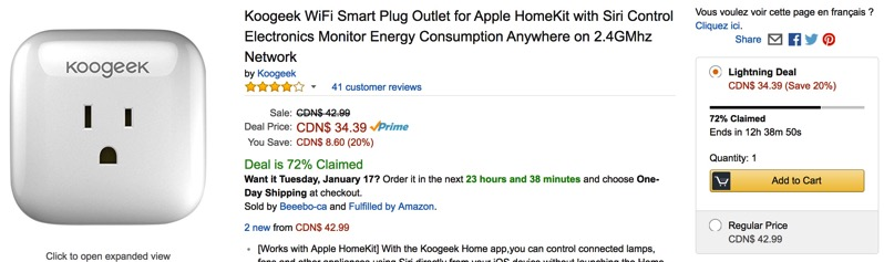 Koogeek HomeKit Smart Plug for 20% Off at $34, Amazon Lightning Deal