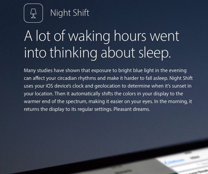 Night shift ios 9 3