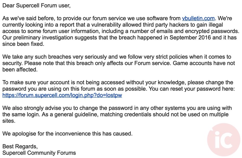 Supercell forums hacked