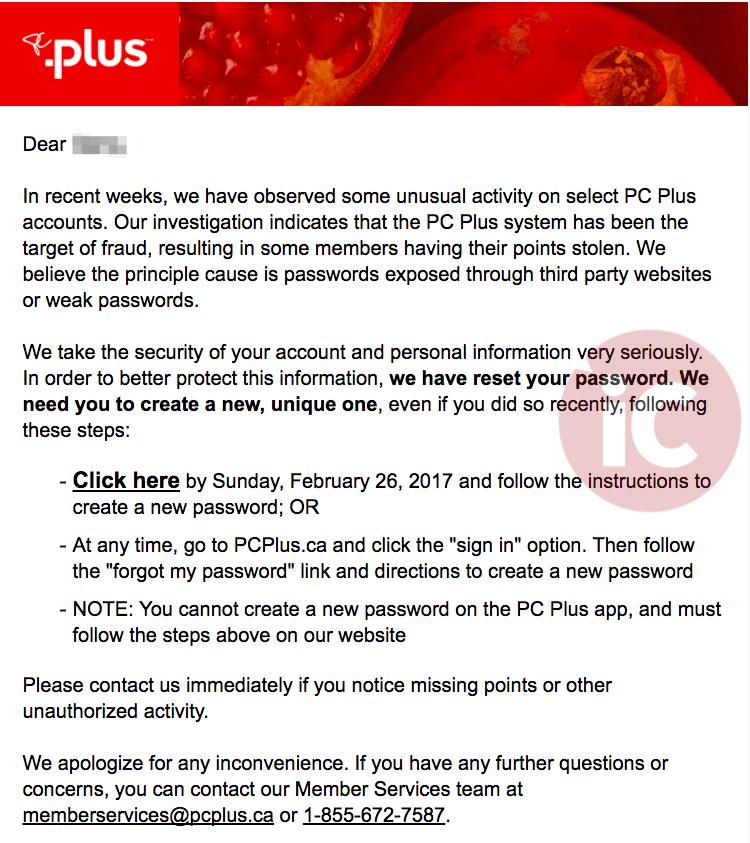 Loblaws password reset