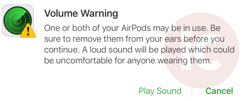 Find my airpods volume warning