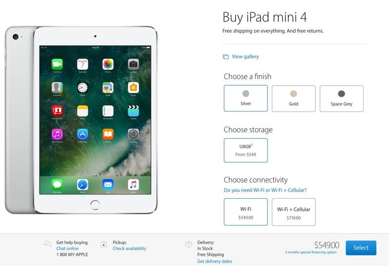 Apples 128gb Ipad Mini 4 Price Drops To 549 In Canada 32gb