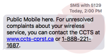 Public mobile text message