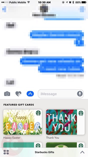 You can now send starbucks gift cards via imessage and apple pay once you tap the starbucks imessage app youll see featured themed gift cards at the top and other cards just tap one and youll see pre populated negle Gallery