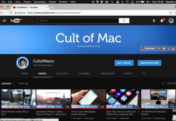 YouTube Dark Mode screen 780x536