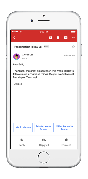 Smart Reply in Gmail on iOS static for blog width 422