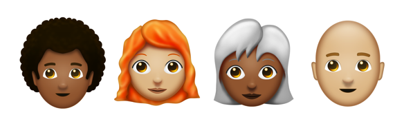 Redhead curly bald emojipedia