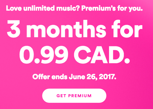 Spotify Canada Promo: 3 Months of Premium for 99 Cents