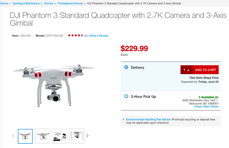 DJI Phantom 3 Standard Quadcopter on Sale for $229 99 at