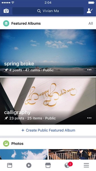Facebook shared albums feature