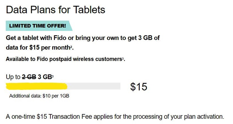 Fido tablet plan