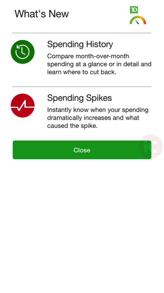 TD MySpend for iOS Gets Spending History, Spending Spikes