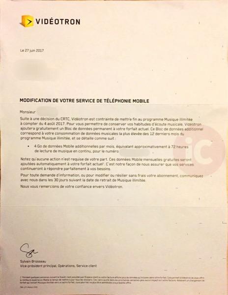Videotron letter