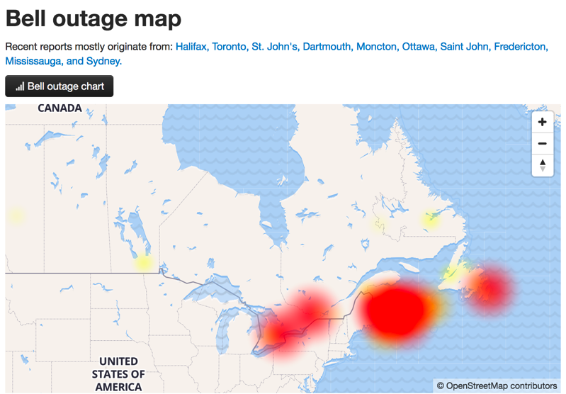 Bell, Telus Network Suffering Outage in Atlantic Canada for Wireless