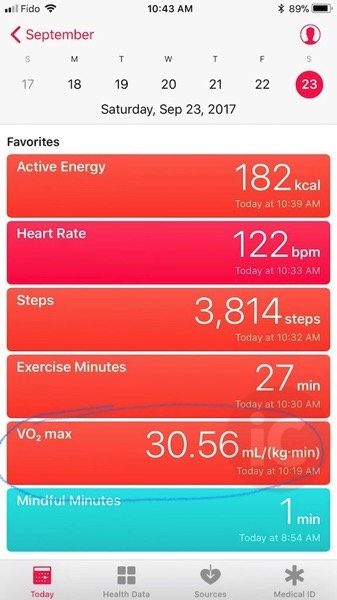 VO2 sensor apple watch
