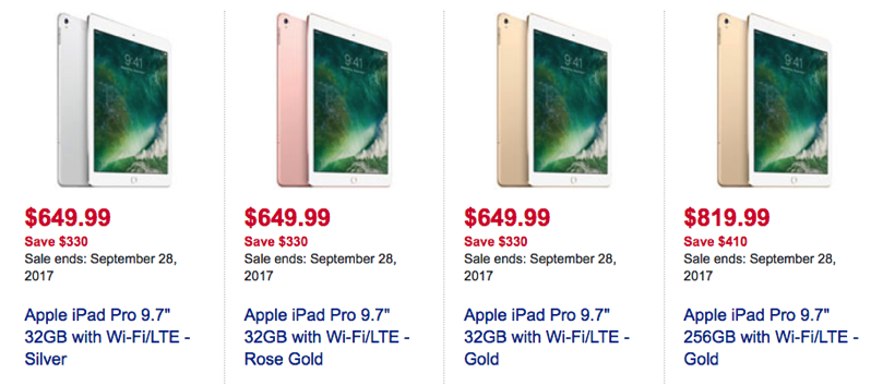 Huge 9 7 Inch Ipad Pro Wi Fi And Lte Sale Up To 410 Off At Best Buy U Iphone In Canada Blog