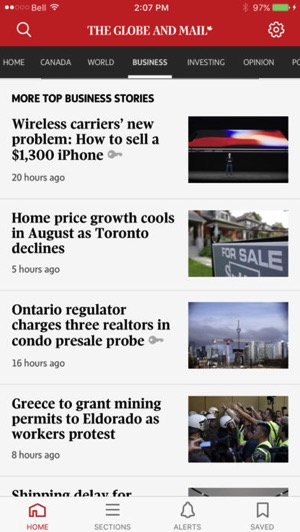 Globe and mail iphone