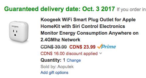 Koogeek Wi-Fi HomeKit Smart Plug Sale: 40% Off at $23 99