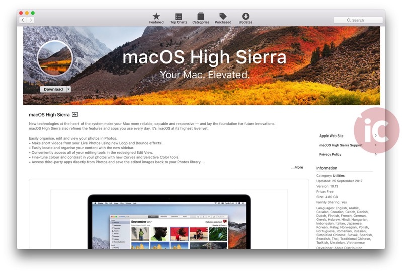 MacOS high sierra download