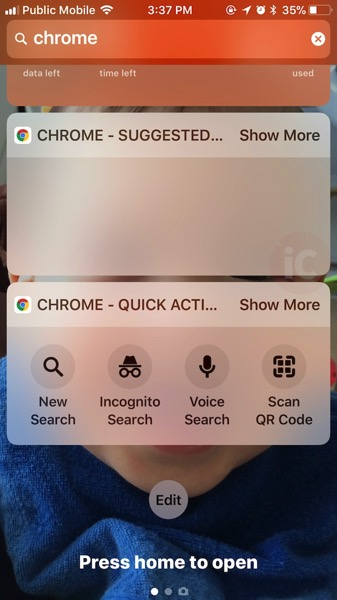 Chrome ios today widget