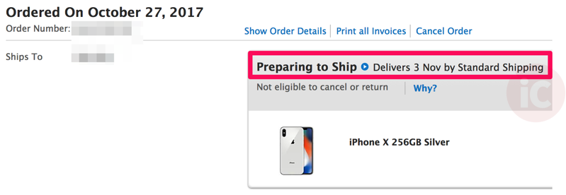 Iphone x preorder preparing to ship