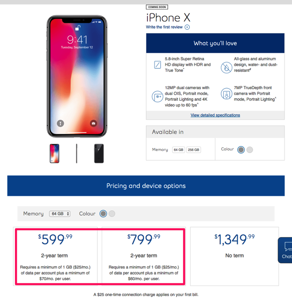 Iphone x pricing bell
