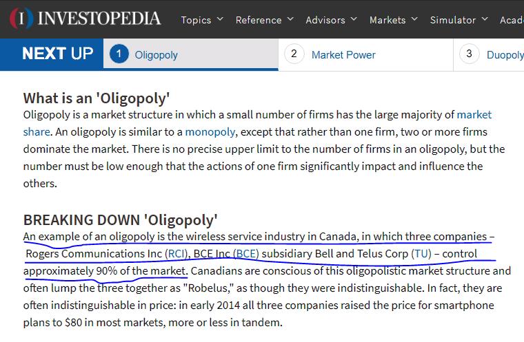 Rogers telus bell oligopoly
