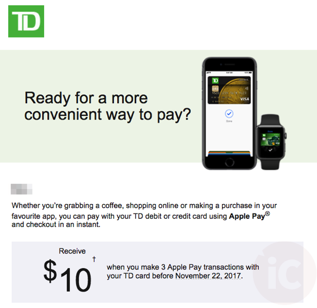 Td apple pay promo