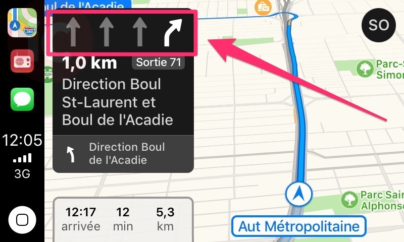 Apple maps lane guidance canada
