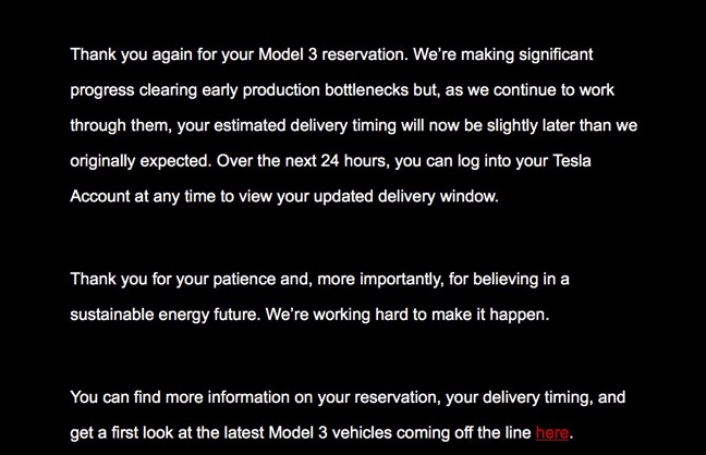 Tesla To Update Delivery Timeline Of Model 3 Reservations