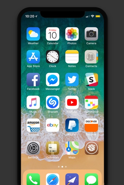 IPhone X with Cydia