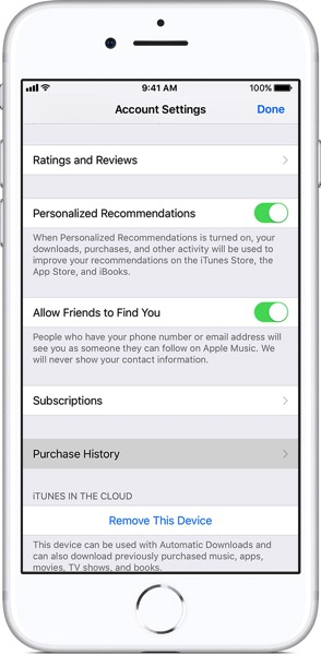 Ios11 iphone8 settings apple id itunes app store view apple id purchase history on tap